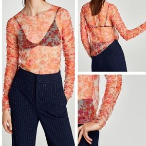 Zara floral ruched mesh blouse